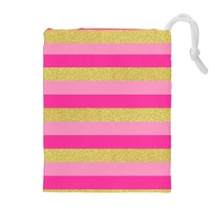 Pink Line Gold Red Horizontal Drawstring Pouches (extra Large) by Mariart