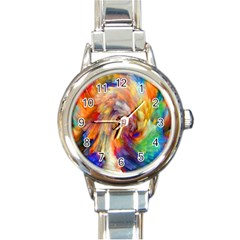 Rainbow Color Splash Round Italian Charm Watch by Mariart