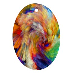 Rainbow Color Splash Ornament (oval) by Mariart