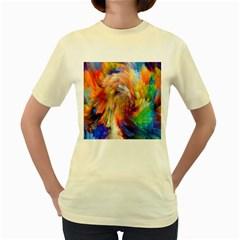 Rainbow Color Splash Women s Yellow T Shirt by Mariart