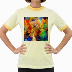 Rainbow Color Splash Women s Fitted Ringer T Shirts by Mariart