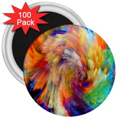 Rainbow Color Splash 3  Magnets (100 Pack) by Mariart