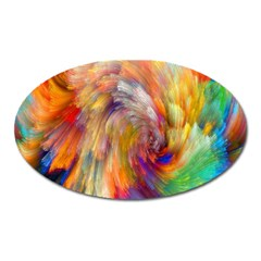 Rainbow Color Splash Oval Magnet by Mariart