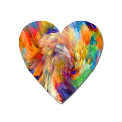 Rainbow Color Splash Heart Magnet by Mariart