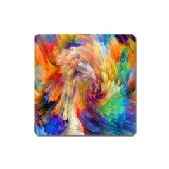Rainbow Color Splash Square Magnet by Mariart
