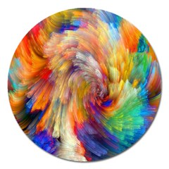 Rainbow Color Splash Magnet 5  (round) by Mariart