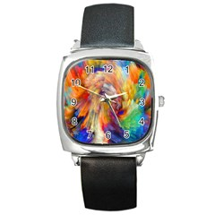 Rainbow Color Splash Square Metal Watch by Mariart