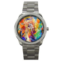 Rainbow Color Splash Sport Metal Watch by Mariart