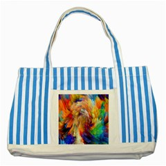 Rainbow Color Splash Striped Blue Tote Bag by Mariart