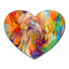 Rainbow Color Splash Heart Mousepads by Mariart