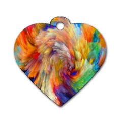 Rainbow Color Splash Dog Tag Heart (two Sides) by Mariart