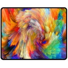 Rainbow Color Splash Fleece Blanket (medium)  by Mariart
