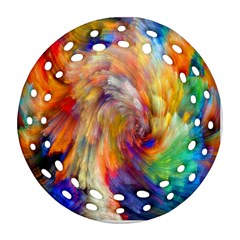 Rainbow Color Splash Round Filigree Ornament (two Sides) by Mariart