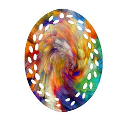 Rainbow Color Splash Ornament (oval Filigree) by Mariart