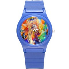 Rainbow Color Splash Round Plastic Sport Watch (s) by Mariart