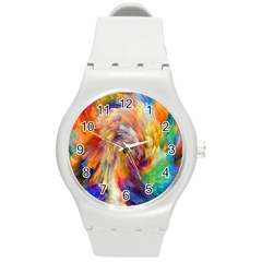Rainbow Color Splash Round Plastic Sport Watch (m) by Mariart