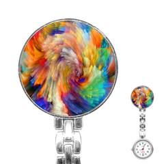 Rainbow Color Splash Stainless Steel Nurses Watch by Mariart