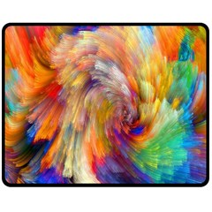 Rainbow Color Splash Double Sided Fleece Blanket (medium)  by Mariart