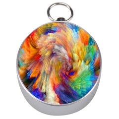 Rainbow Color Splash Silver Compasses by Mariart