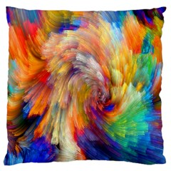 Rainbow Color Splash Large Flano Cushion Case (one Side) by Mariart