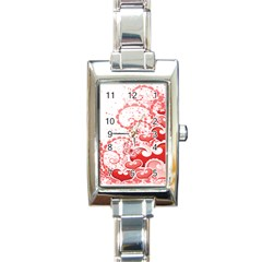 Love Heart Butterfly Pink Leaf Flower Rectangle Italian Charm Watch by Mariart