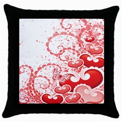 Love Heart Butterfly Pink Leaf Flower Throw Pillow Case (black) by Mariart