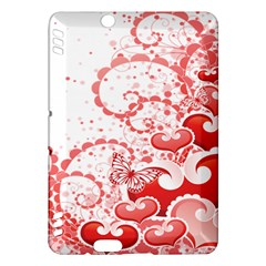 Love Heart Butterfly Pink Leaf Flower Kindle Fire Hdx Hardshell Case by Mariart
