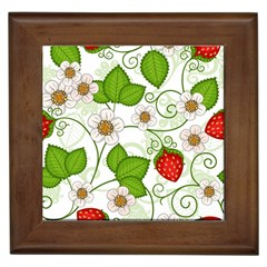 Strawberry Fruit Leaf Flower Floral Star Green Red White Framed Tiles