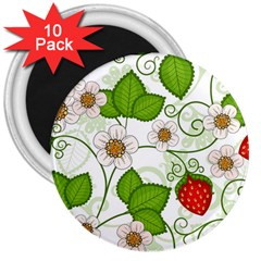 Strawberry Fruit Leaf Flower Floral Star Green Red White 3  Magnets (10 Pack)  by Mariart