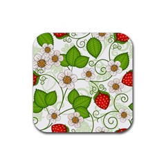Strawberry Fruit Leaf Flower Floral Star Green Red White Rubber Square Coaster (4 Pack)  by Mariart
