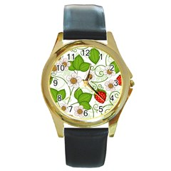 Strawberry Fruit Leaf Flower Floral Star Green Red White Round Gold Metal Watch by Mariart