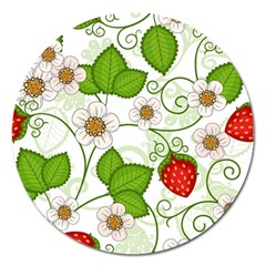 Strawberry Fruit Leaf Flower Floral Star Green Red White Magnet 5  (round) by Mariart