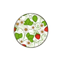 Strawberry Fruit Leaf Flower Floral Star Green Red White Hat Clip Ball Marker (10 Pack) by Mariart