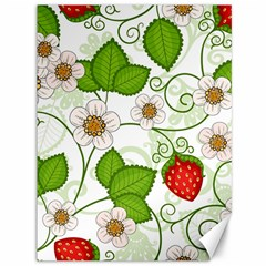 Strawberry Fruit Leaf Flower Floral Star Green Red White Canvas 36  X 48   by Mariart