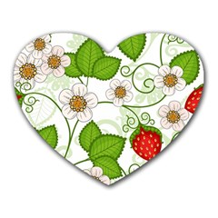 Strawberry Fruit Leaf Flower Floral Star Green Red White Heart Mousepads by Mariart