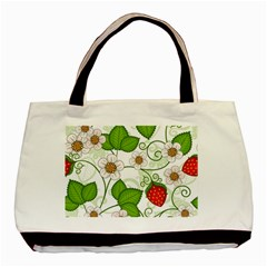 Strawberry Fruit Leaf Flower Floral Star Green Red White Basic Tote Bag (two Sides) by Mariart