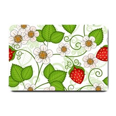 Strawberry Fruit Leaf Flower Floral Star Green Red White Small Doormat  by Mariart