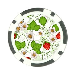 Strawberry Fruit Leaf Flower Floral Star Green Red White Poker Chip Card Guard by Mariart