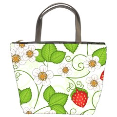 Strawberry Fruit Leaf Flower Floral Star Green Red White Bucket Bags by Mariart