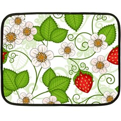 Strawberry Fruit Leaf Flower Floral Star Green Red White Double Sided Fleece Blanket (mini)  by Mariart