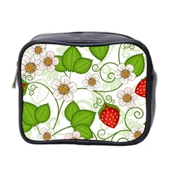Strawberry Fruit Leaf Flower Floral Star Green Red White Mini Toiletries Bag 2 Side by Mariart