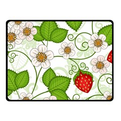 Strawberry Fruit Leaf Flower Floral Star Green Red White Fleece Blanket (small) by Mariart