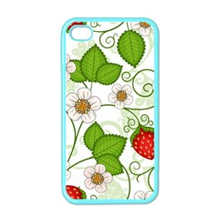 Strawberry Fruit Leaf Flower Floral Star Green Red White Apple Iphone 4 Case (color) by Mariart