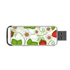 Strawberry Fruit Leaf Flower Floral Star Green Red White Portable Usb Flash (two Sides) by Mariart