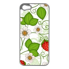 Strawberry Fruit Leaf Flower Floral Star Green Red White Apple Iphone 5 Case (silver) by Mariart