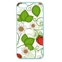 Strawberry Fruit Leaf Flower Floral Star Green Red White Apple Seamless Iphone 5 Case (color) by Mariart