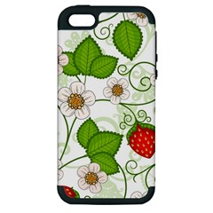 Strawberry Fruit Leaf Flower Floral Star Green Red White Apple Iphone 5 Hardshell Case (pc+silicone) by Mariart