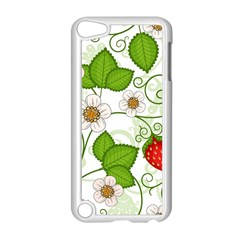 Strawberry Fruit Leaf Flower Floral Star Green Red White Apple Ipod Touch 5 Case (white) by Mariart