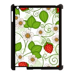 Strawberry Fruit Leaf Flower Floral Star Green Red White Apple Ipad 3/4 Case (black) by Mariart