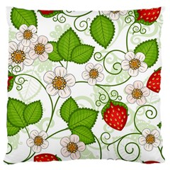 Strawberry Fruit Leaf Flower Floral Star Green Red White Large Flano Cushion Case (two Sides) by Mariart